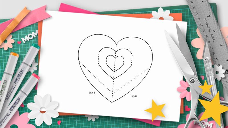 heart pop-up template