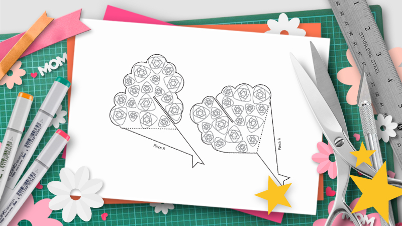 bouquet pop-up template