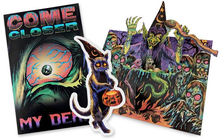 come closer halloween pop-up card